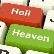 Heaven hell computer keys showing choice between good and evil online Stock Illustration