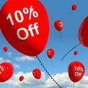 Stock Illustration of balloon with 10% off showing sale discount of ten percent