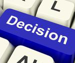 Stock Illustration of decision computer key representing uncertainty and making decisions online