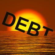 Debt word sinking showing bankruptcy poverty and being broke Stock Illustration