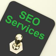 Stock Illustration of seo services switch representing internet optimization and promotion