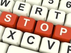Stop computer keys showing denial panic and negativity Stock Illustration