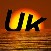 Uk word sinking as symbol for britains problems Stock Illustration