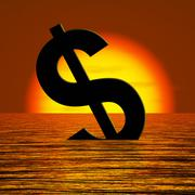 dollar sinking and sunset showing depression recession and economic downturn - stock illustration