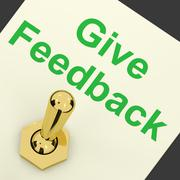 Stock Illustration of give feedback switch showing opinions and surveys