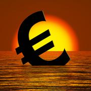 Stock Illustration of euro symbol sinking and sunset showing depression recession and economic down
