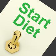 Start diet switch shows dieting or slimming beginning Stock Illustration
