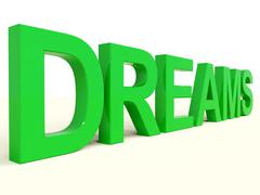 dreams word in green representing hopes and visions - stock illustration