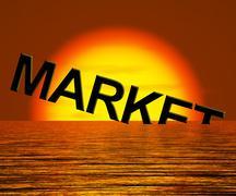 Markkinoiden sana uppoamassa näyttää masentunut talouden tai lama Piirros