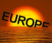 Europe sinking and sunset showing depression recession and economic downturns Stock Illustration