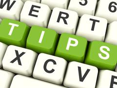 tips computer keys showing hints and guidance - stock illustration