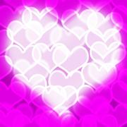 heart with mauve bokeh background showing love romance and valentines - stock illustration