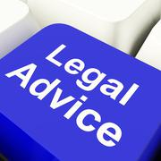 Legal advice computer key in blue showing attorney guidance Stock Illustration