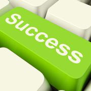 success computer key in green showing achievement and determination - stock illustration