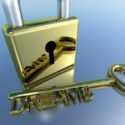 Padlock with dreams key showing wishes hope and future Stock Illustration