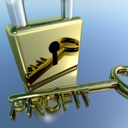 Padlock with profit key showing growth earnings and revenue Stock Illustration