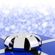 Stock Illustration of blue giftbox with bokeh background for husbands birthday