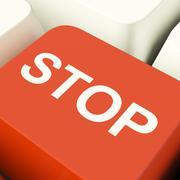 Stop computer key showing denial panic and negativity Stock Illustration
