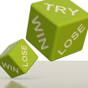 Try win lose dice showing gambling and chance Stock Illustration