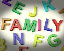 family written in plastic kids letters - stock illustration