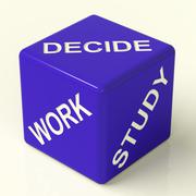 Stock Illustration of decide work study dice showing career choices
