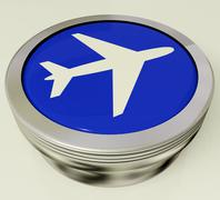 airplane icon or metallic button expressing travel or airport - stock illustration
