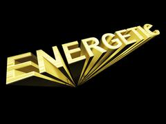 Energetic text in gold and 3d as symbol for fitness and activity Stock Illustration