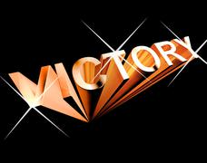 victory text in orange and 3d as symbol for winning and accomplishment - stock illustration