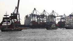 Grand Arrival parade of Hamburg port anniversary Stock Footage
