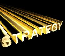 strategy text in yellow and 3d as symbol for planning and improving - stock illustration