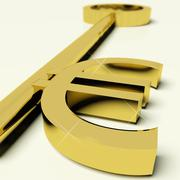 key with euro sign as symbol for money or wealth - stock illustration