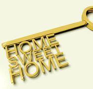 key with sweet home text as symbol for property and ownership - stock illustration