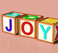 Kids blocks spelling joy as symbol for fun and playing Stock Illustration