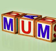Kids blocks spelling mum as symbol for motherhood and parenting Stock Illustration