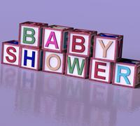 kids blocks spelling baby shower as symbol for babies and newborns party - stock illustration