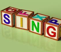 Kids blocks spelling sing as symbol for singing and music Stock Illustration