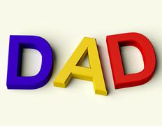 Kids letters spelling dad as symbol for fatherhood and parenting Stock Illustration