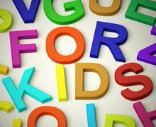 letters spelling for kids as symbol for childhood and children - stock illustration