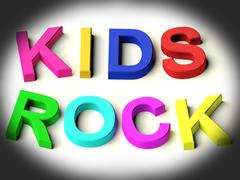 Letters spelling kids rock as symbol for childhood and children Stock Illustration