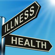 Illness or health directions on a signpost Stock Illustration