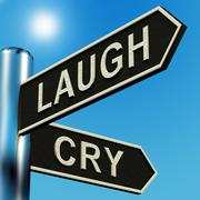 Laugh or cry directions on a signpost Stock Illustration
