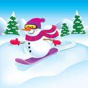Snowman Snowboarder on the Slopes Stock Illustration