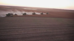Aerial View of Canola Harvest Stock Footage