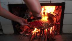 Cooking a paella - stock footage