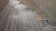Stock Video Footage of Aerial View of Canola Harvest
