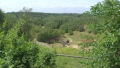 High angle view + pan Marl quarry t Rooth in the Dutch Province South Limburg Stock Footage