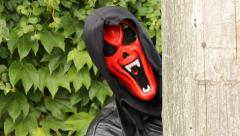Red devil mask Stock Footage