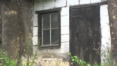 Cave dwelling - limestone blocks facade + zoom in window Stock Footage