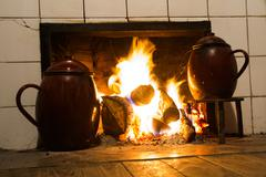 chimney pots on the fire - stock photo