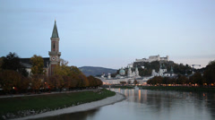 General view of the historical center of Salzburg, Austria Stock Footage